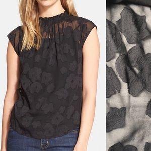 Rebecca Taylor sheer floral black blouse